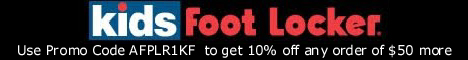 Get 10% off any order of $50 more at Kidsfootlocker.com