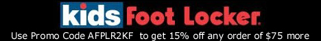 Get 15% off any order of $75 more at Kidsfootlocker.com