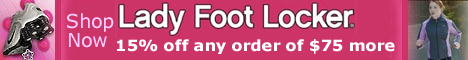 Get 15% off any order of $75 more at Ladyfootlocker.com