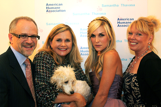 Eric Brunner, Chairman of the Board of American Humane Association; Robin Ganzert, President and CEO of American Humane Association; Tinsley Mortimer; and Jone Bouman, Communications, American Humane Association's Film & Television Unit.